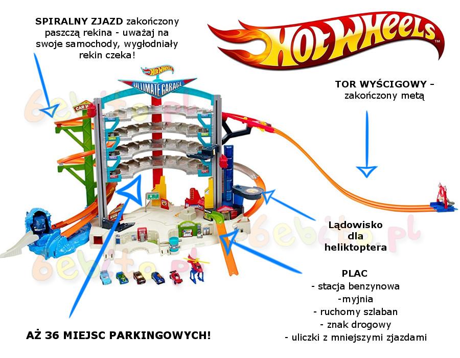 Hot Wheels Mega Garaż Ze Zjeżdżalnią 5 Autek Heliktopter Sklep